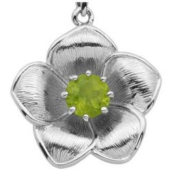 Arthur Court Round Peridot Flower Pendant in Sterling Silver
