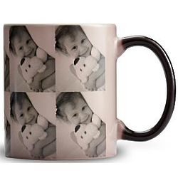 Black and White Personalized Multi-Photo Color Changing Mug