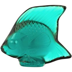 Turquoise Lalique Crystal Fish Figurine