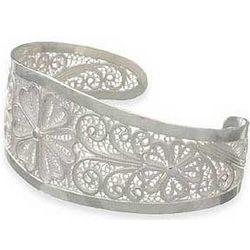 Filigree Lotus Floral Sterling Silver Cuff Bracelet