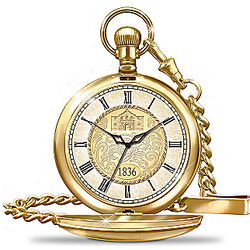Gold Ion-Plated Remember the Alamo Pocket Watch