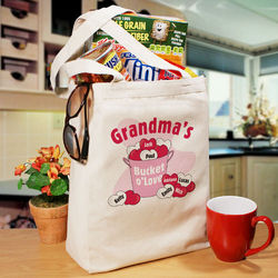 Bucket of Love Personalized Canvas Tote Bag