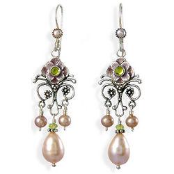Bohemian Pink Pearl and Enamel Chandelier Earrings