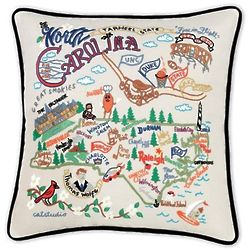 Embroidered North Carolina State Pillow