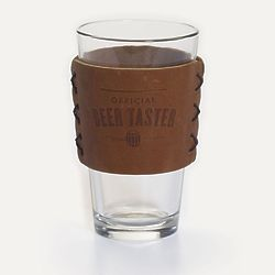 Pint Glass with Official Beer Taster Leather Sleeve