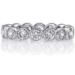 Sterling Silver Round Bezel Cubic Zirconia Eternity Band