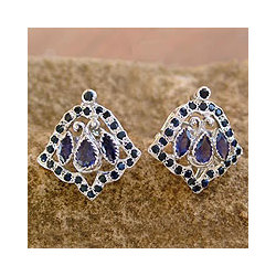 Blue Bell Sapphire and Iolite Earring