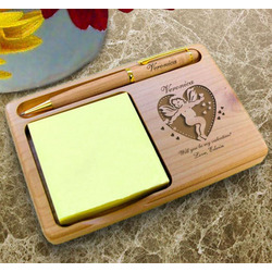 Personalized Valentine Cupid Wooden Notepad & Pen Holder