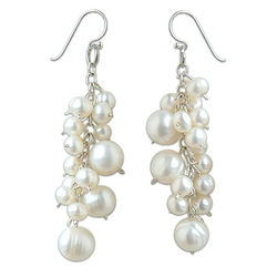 'Full Moon' Pearl Cluster Earrings