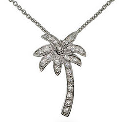 CZ Palm Tree Necklace