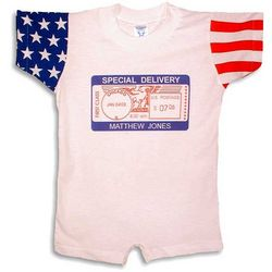 "Personalized Stars & Stripes ""Special Delivery"" Postmark Romper"