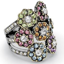 Multi-Colored Crystal Flower and Black Ruthenium Finish Ring