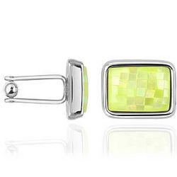 Mosaic Lime Mother of Pearl Silver Plated Cufflinks