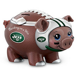 New York Jets Porcelain Football Piggy Bank