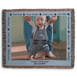 Landscape Baby Photo Blanket with Blue Border