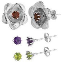 Multi-Gemstone Flower Earrings in Sterling Silver