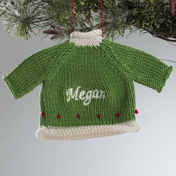 Green Christmas Sweater Embroidered Ornament