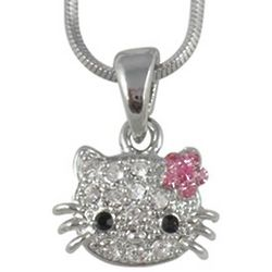 Small Kitty Crystal Pendant Necklace with Pink Flower Bow