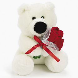 Plush Polar Bear with Roses