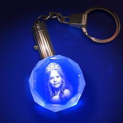 Personalized Photo Octagon Crystal Keychain