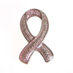 Pink Ribbon Glitter Pin