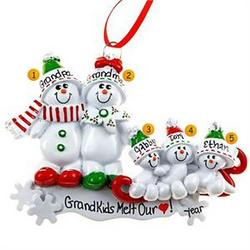 Grandparents with Three Grandkids on Sled Family Ornament