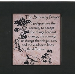 The Serenity Prayer Jerusalem Stone Framed Plaque in Black