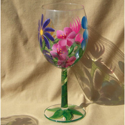 Barbara Pattern Individual Floral Hand Painted Wine Glass