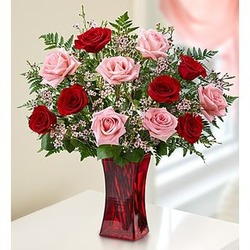 Shades of Pink and Red Roses Bouquet