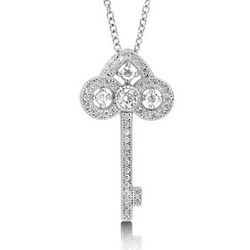 Sterling Silver Cubic Zirconia Filigree Key Necklace