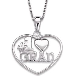 Sterling Silver Number 1 Grad Graduation Heart Necklace
