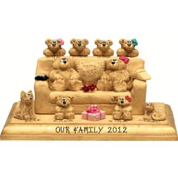 Grandparents on Settee Plaque with up to 13 Bamily Bears