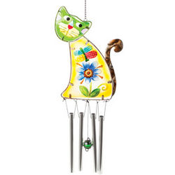 Kitty Cat Glass Wind Chime