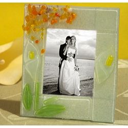Murano Art Deco Calla Lily Glass Photo Frame
