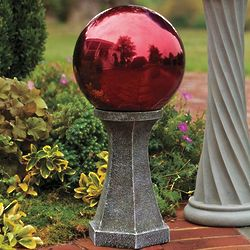 Stainless Steel Gazing Ball with Column Stand