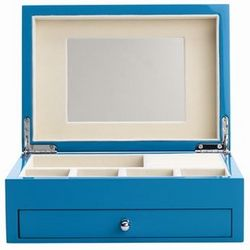 High Gloss Finish Cool Blue Jewelry Box