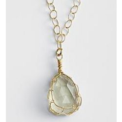 Tear-Shaped Green Amethyst Pendant