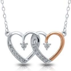 Diamond Double Heart Necklace in Sterling Silver and Gold