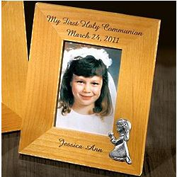 First Communion Personalized 5x7 Frame with Pewter Girl Figurine