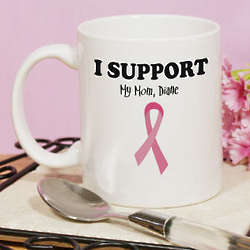 Personalized I Support Breast Cancer Awareness Coffee Mug