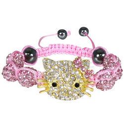 Crystal Beaded Kitty Shamballa Bracelet