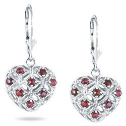 1/2 Carat Ruby Puff Heart Earrings in Sterling Silver