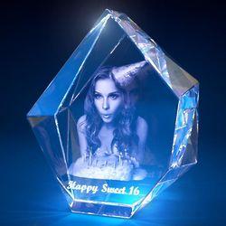 3D Photo Prestige Crystal Birthday Sculpture