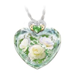 Irish Rose Crystal Heart-Shaped Pendant