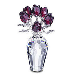 Swarovski Crystal Red Roses in a Vase