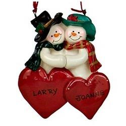 Snowman Engagement Christmas Ornament