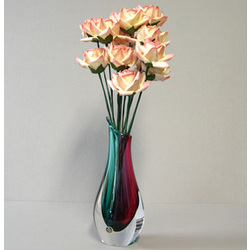 Pink Paper Roses in Colorful Glass Vase