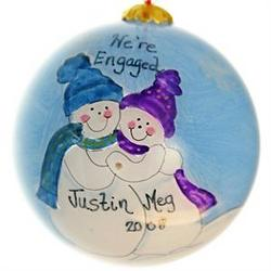 Engaged Snow Couple Personalized Glass Ball Ornament
