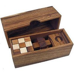 3 Wooden Puzzles Set in Wooden Box