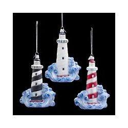 Lighthouse and Wave Ornament
